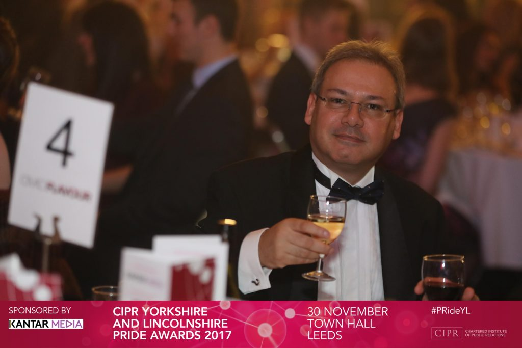 Photo: me, in black tie at the CIPR Yorkshire & Lincolnshire PRide Awards. Taken by Steve Pope