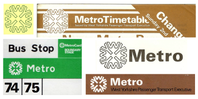 Image: versions of the old Metro logo.